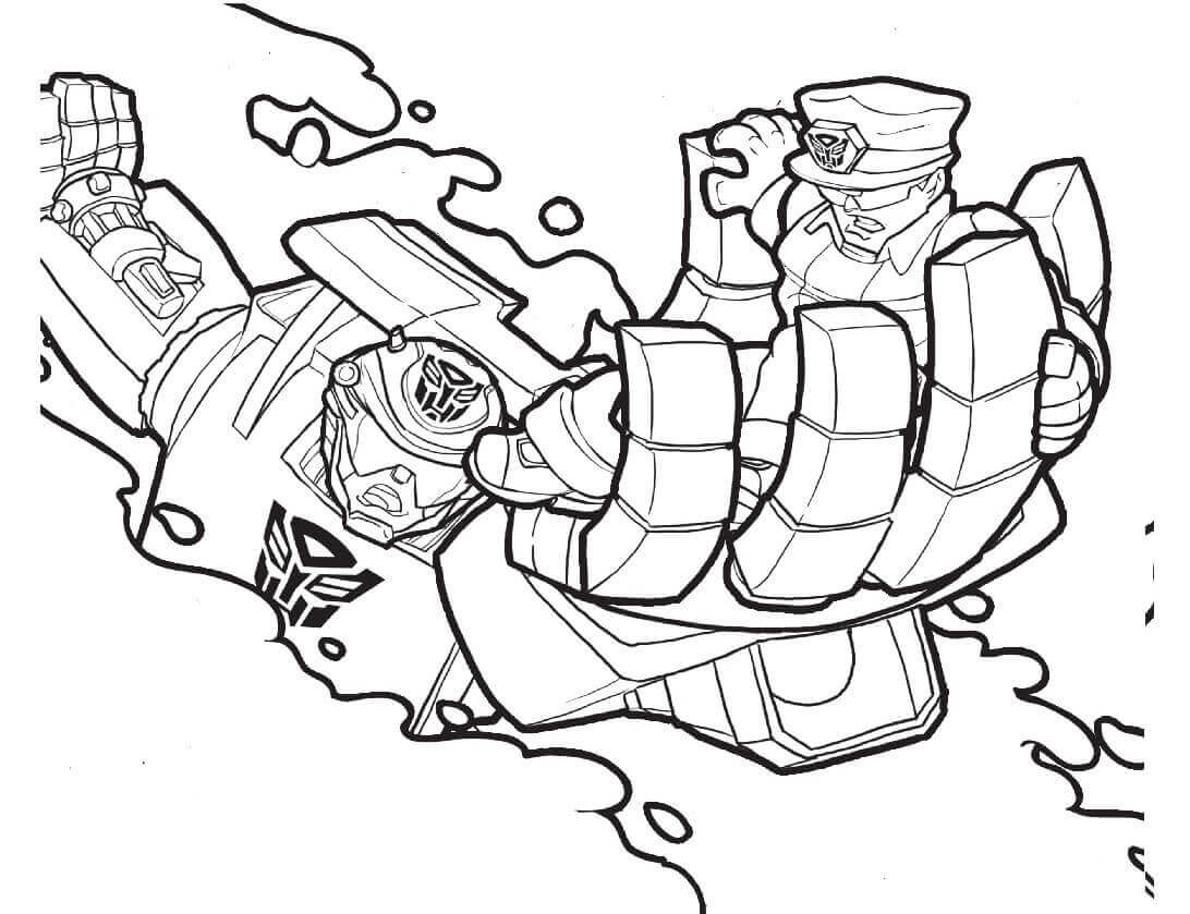 Chase Transformers Saving A Policeman Coloring Page