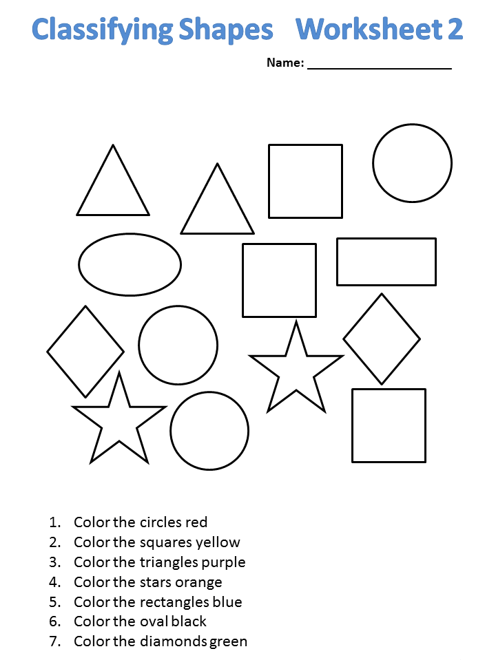 Classifying Shapes Kindergarten Math Worksheet