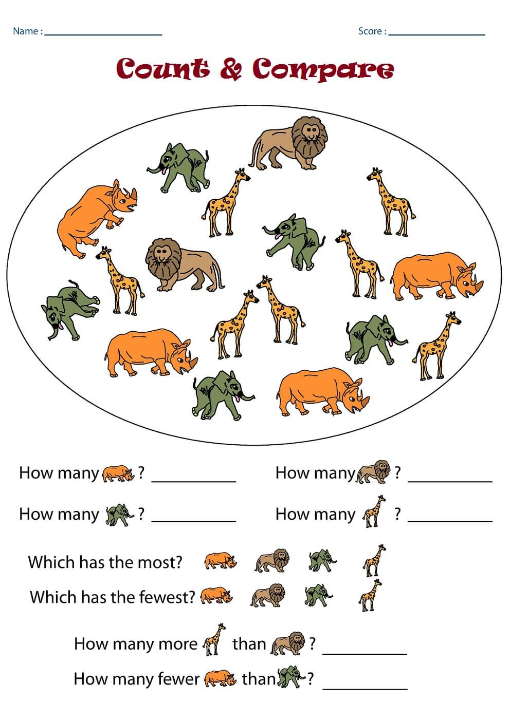 Count And Compare Kindergarten Math Worksheets