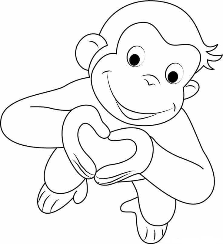 Curious George Valentines Day coloring pages