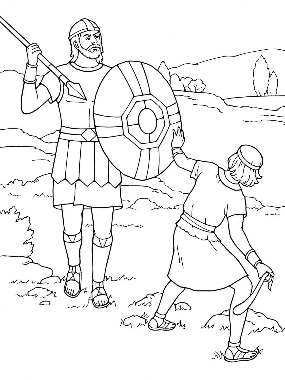 David And Goliath Sunday School Coloring Page