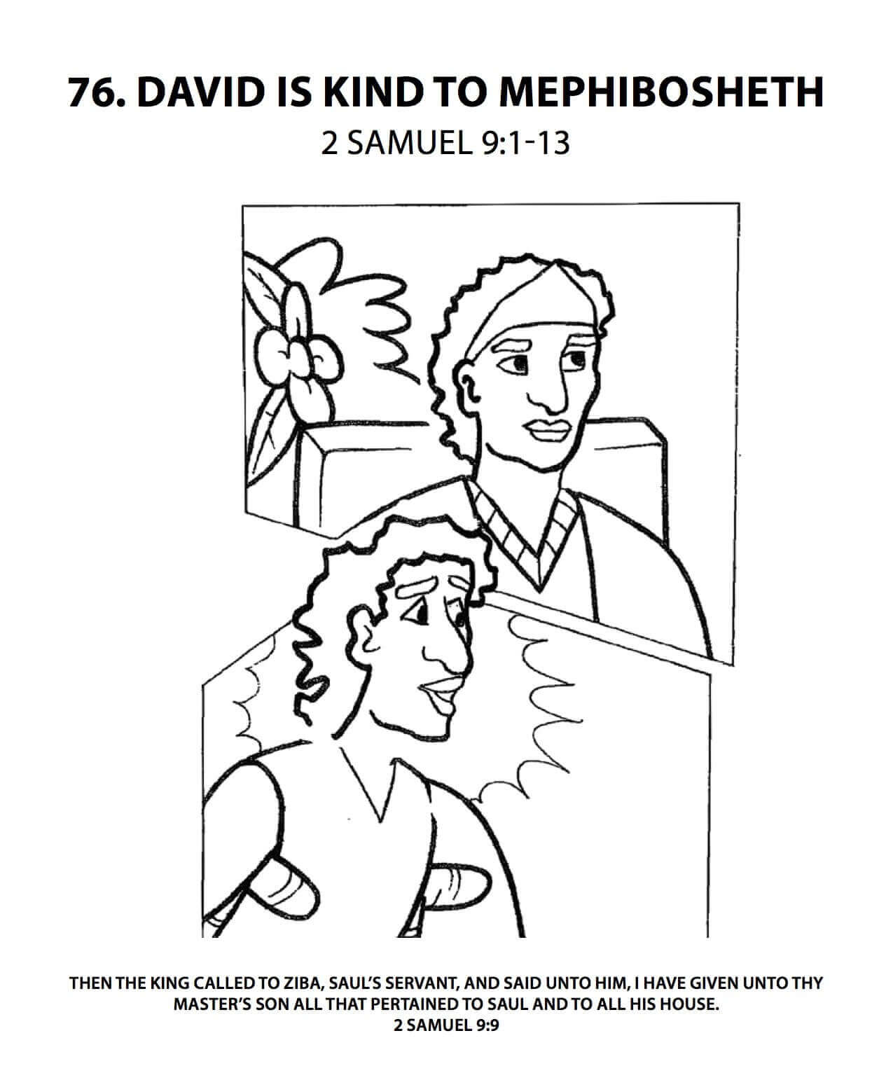 david and mephibosheth coloring page - free printable sunday school coloring pages