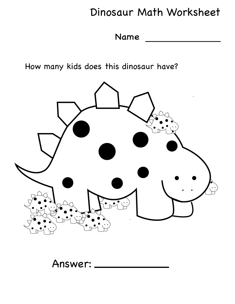 Dinosaur Kindergarten Math Worksheet