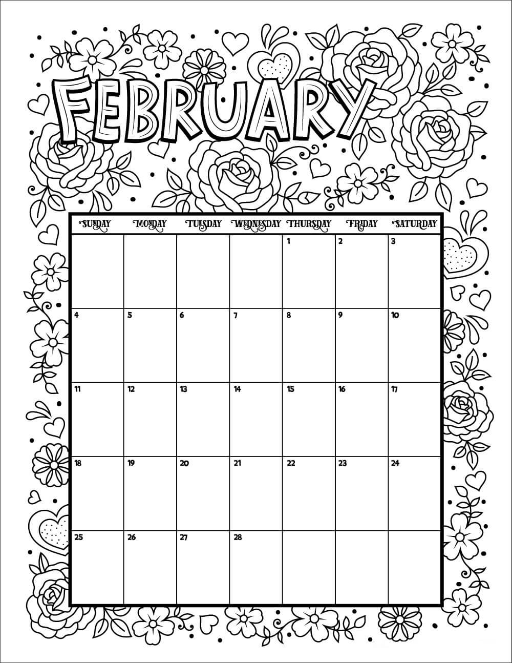 20 Free Printable February Coloring Pages
