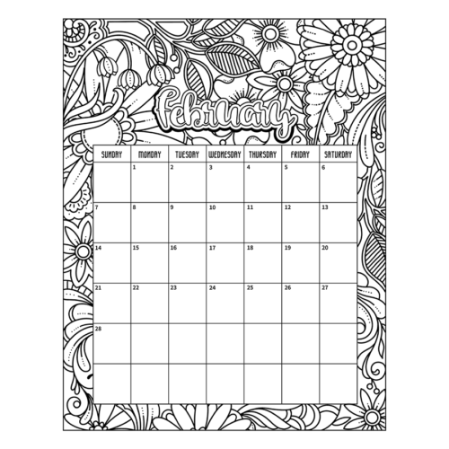 February 2021 coloring page