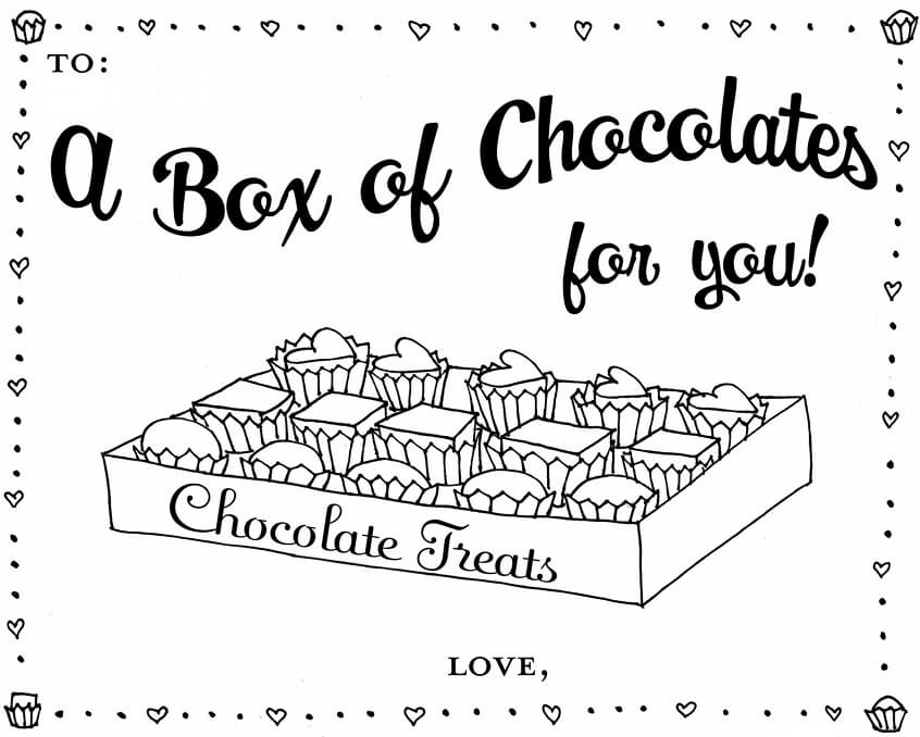 February Chocolates Coloring Pages