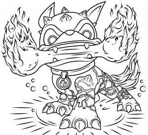 Fire Bone Hot Dog Skylanders Coloring Pages