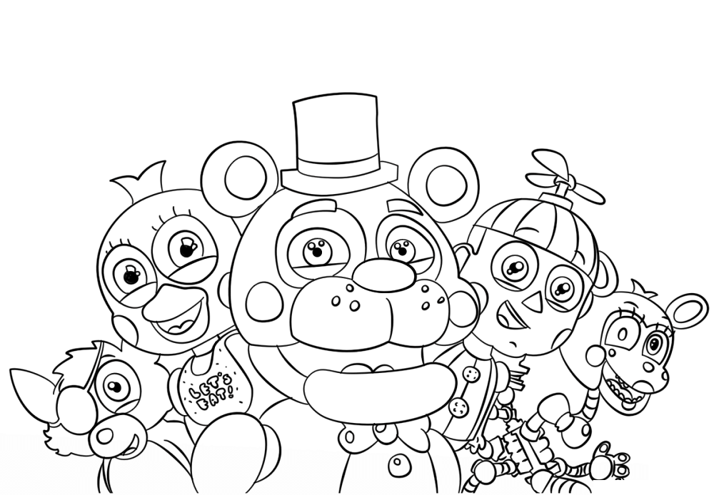 F Naf Characters Coloring Pages