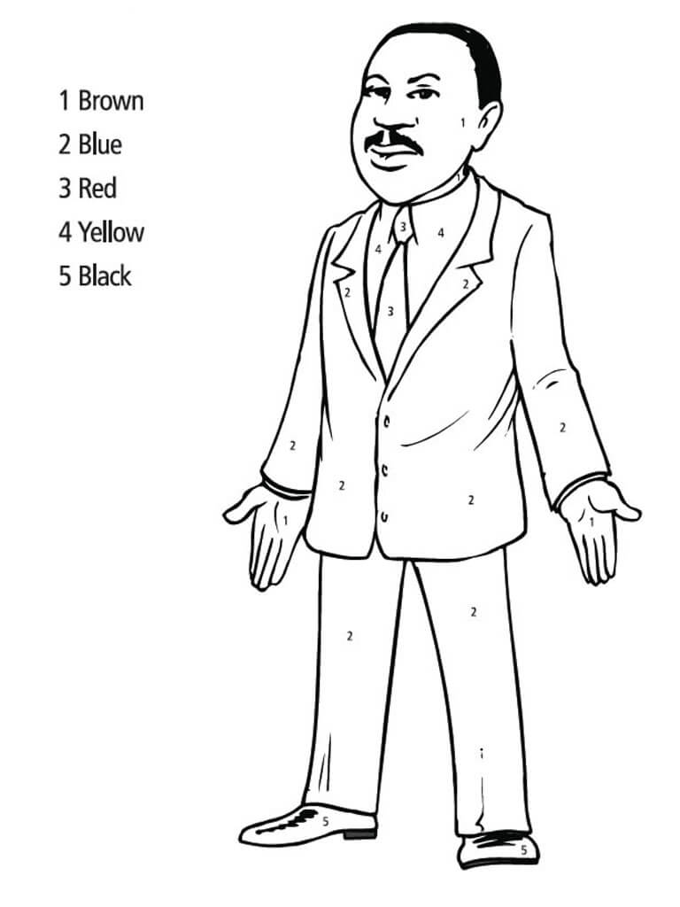 Free Martin Luther King Jr Color By Number Coloring Pages