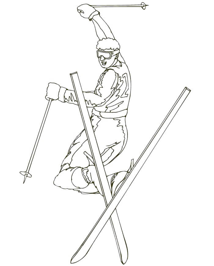 Freestyle skiing Winter Olympics Coloring Pages