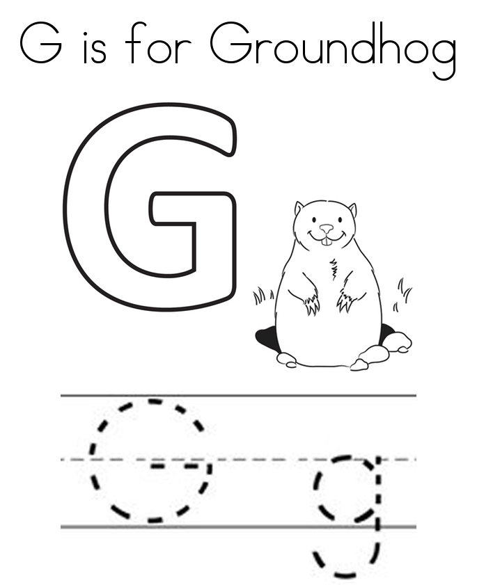 G for groundhog coloring page