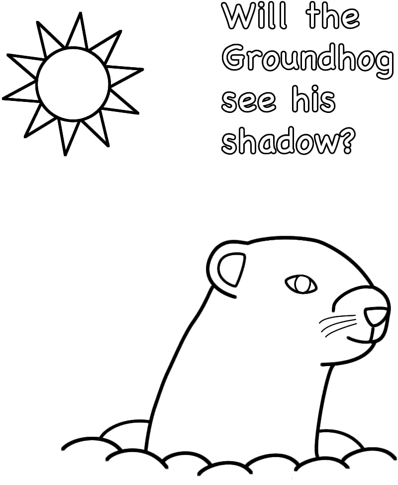 Groundhog Day shadow Coloring Page printable