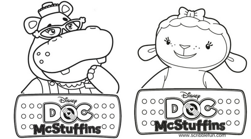 Hallie and lambie doc mcstuffins coloring pages