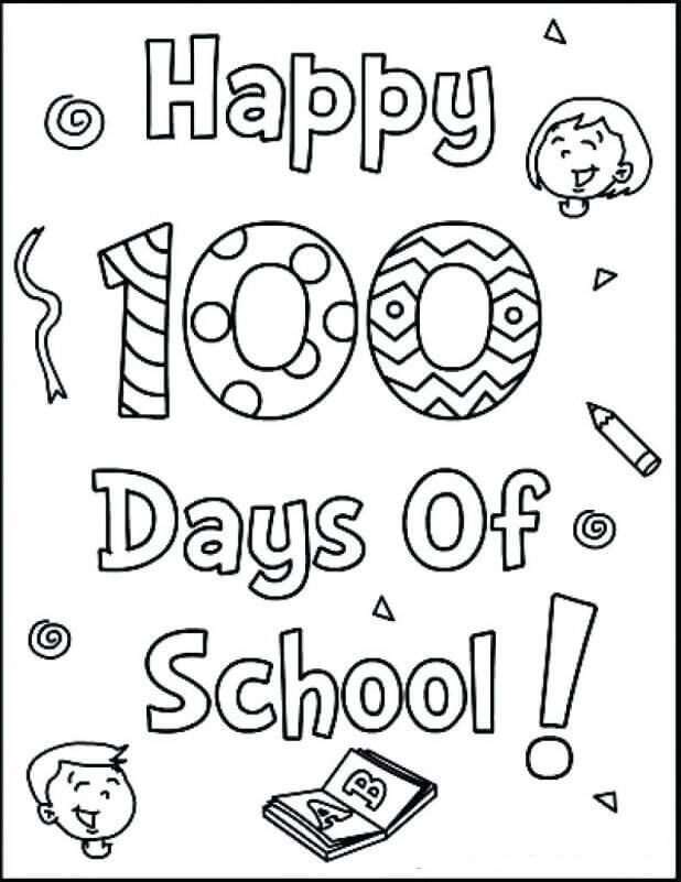 Happy 100 Days Of School Coloring Pages Free