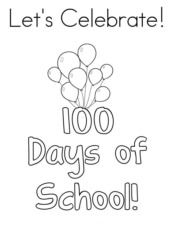 Happy 100 Days Of School Coloring Pages
