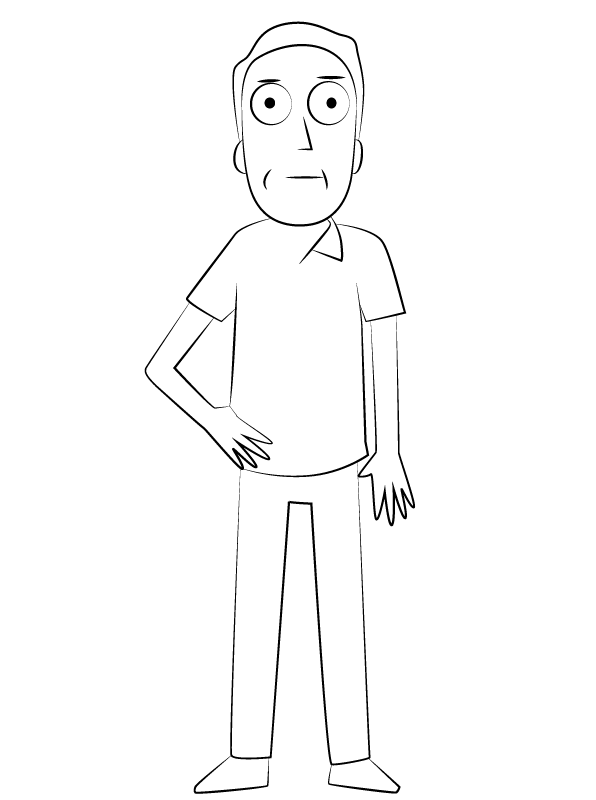 Jerry Smith from Rick and Morty Coloring Page