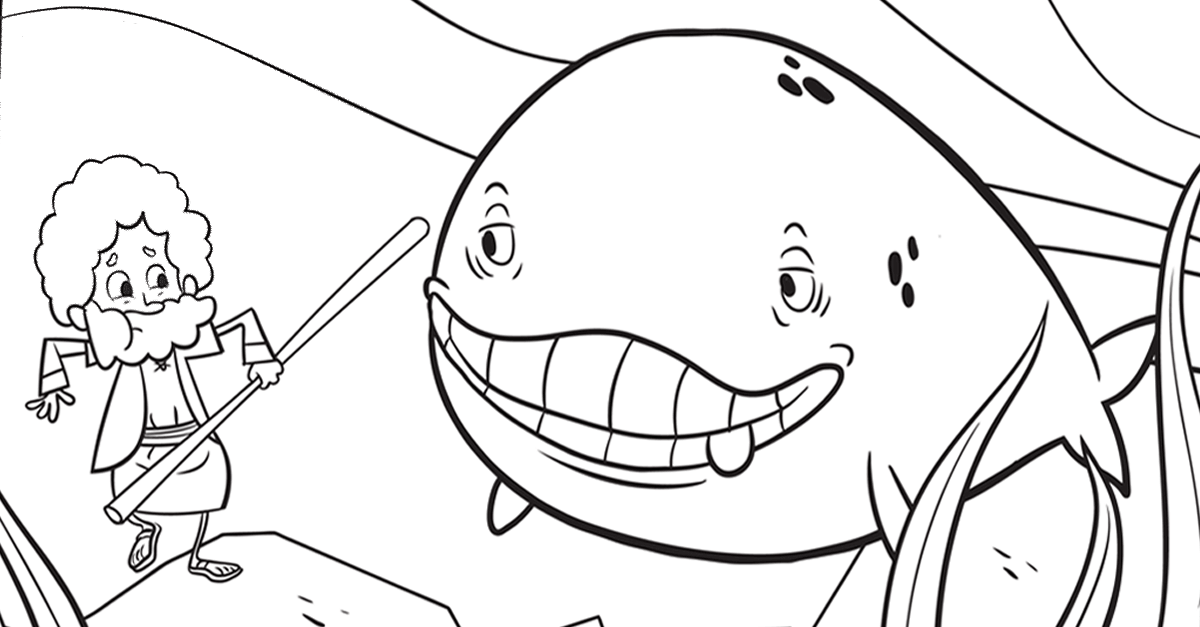 Jonah And Whale Sunday School Coloring Page