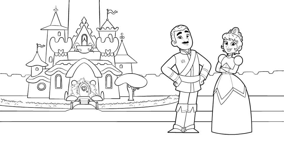King Dad and Queen Mom Coloring Page From Nella the Princess Knight