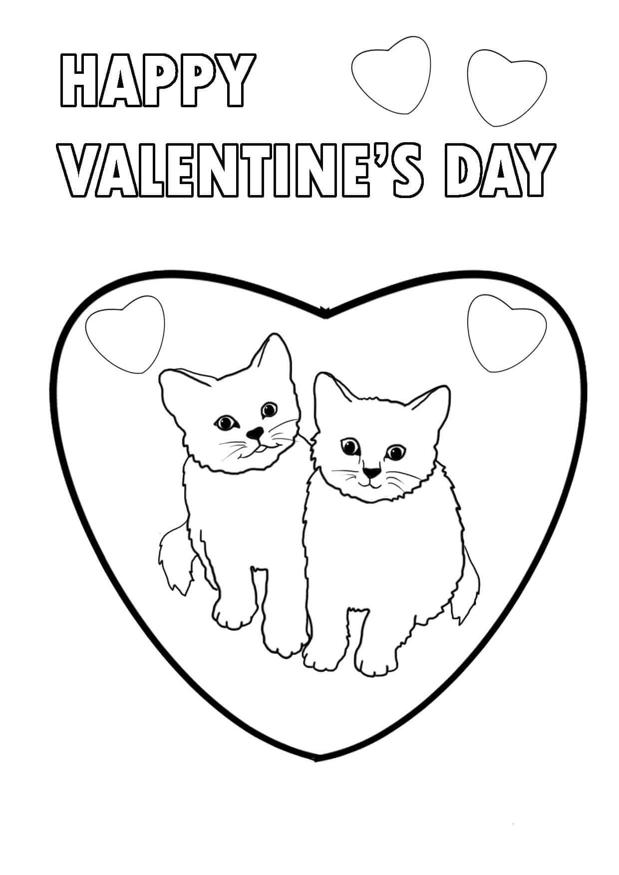 Kitten Valentines Day coloring pages