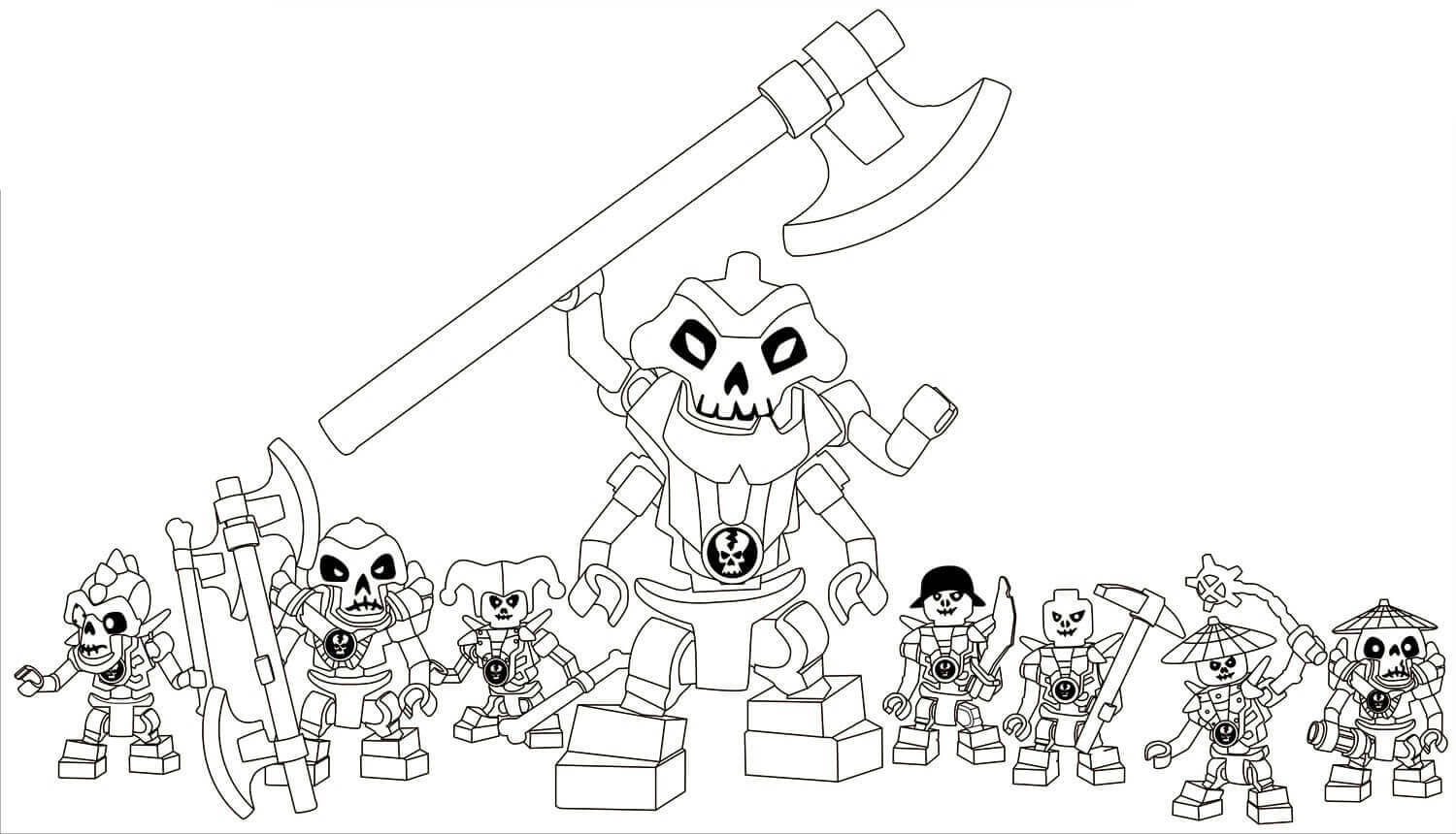 Lego Ninjago Coloring Pages Kruncha With His Team