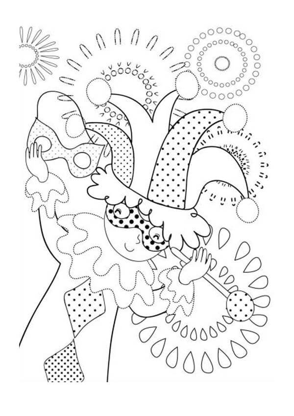Mardi Gras Clown Coloring Pages