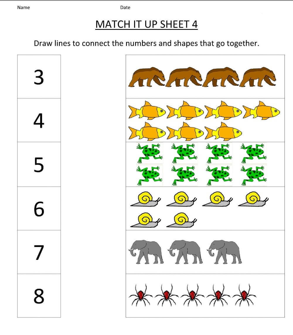 Match It Up Kindergarten Math Worksheet