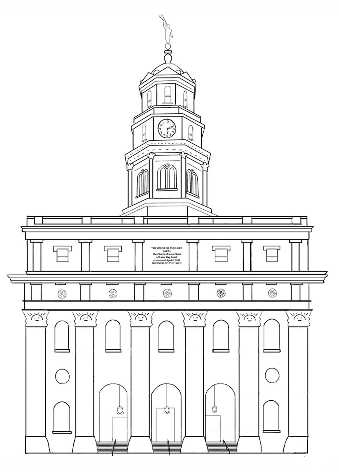 Nauvoo LDS Temple coloring page