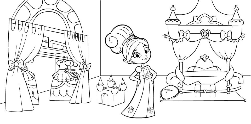 Nella The Princess Knight in Bedroom Coloring Page