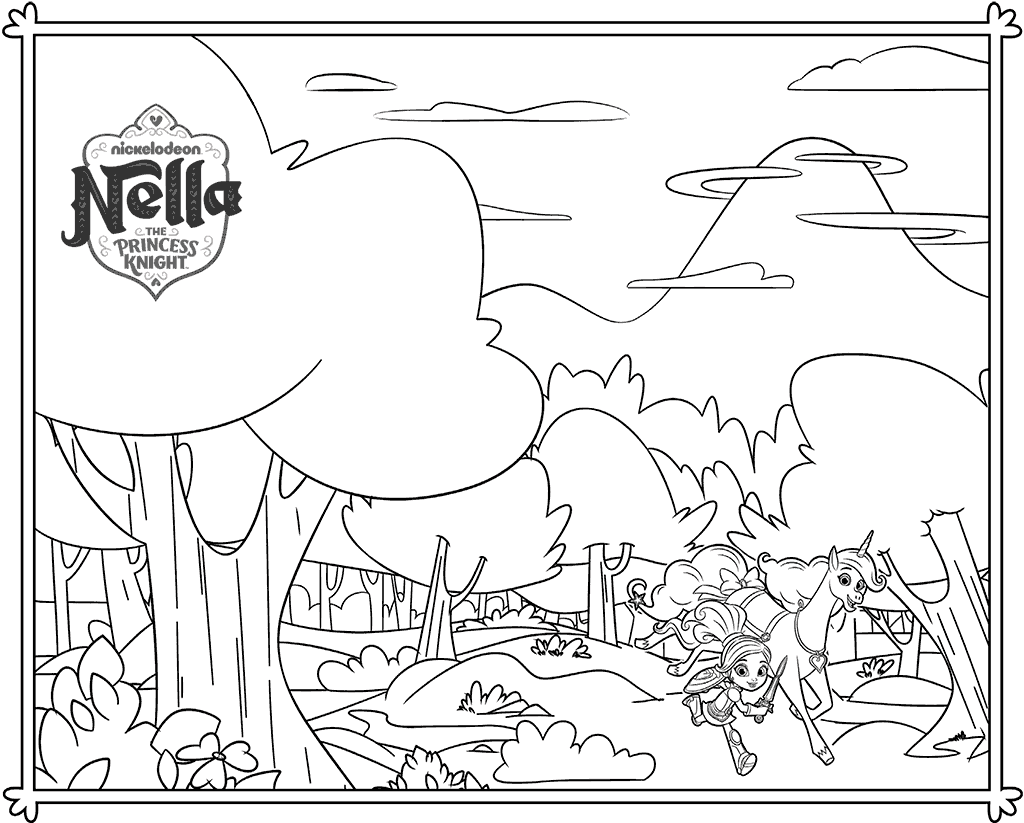 Nella the Princess Knight And Trinket Coloring Page