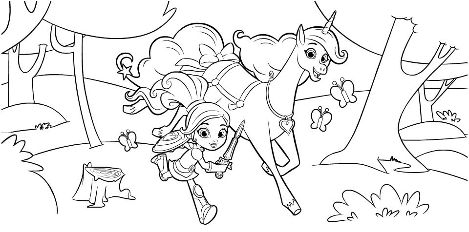 Nella the Princess Knight and Trinket Coloring Sheet