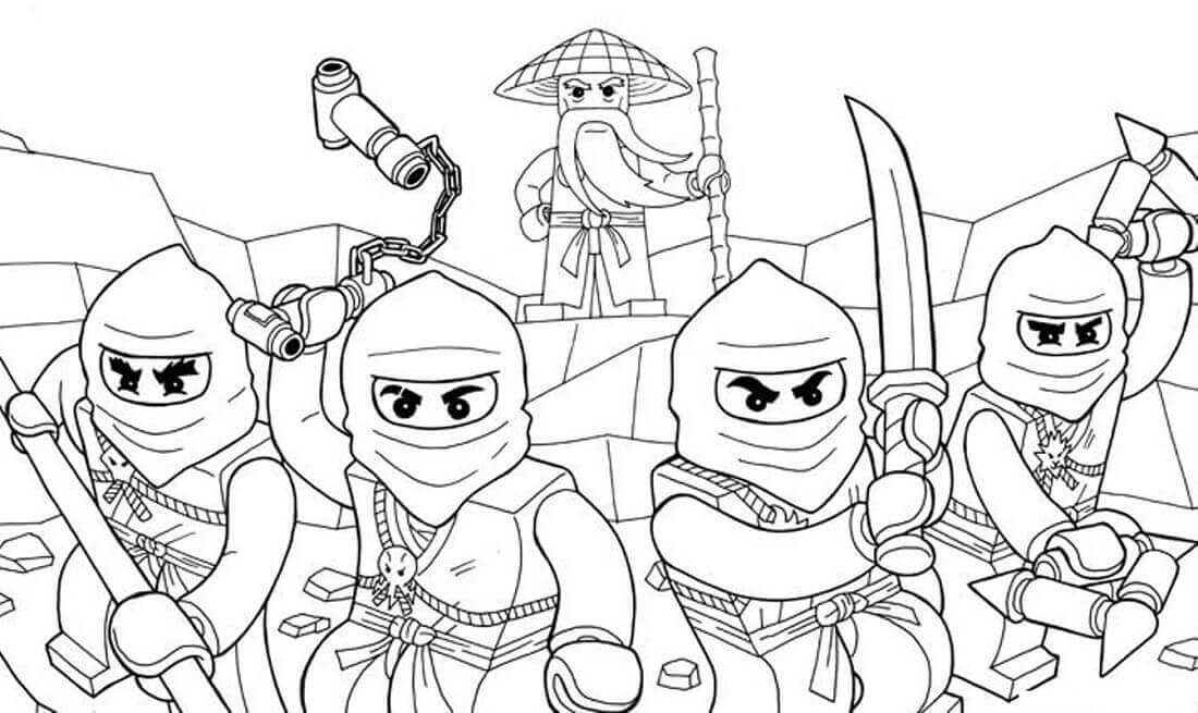 Ninjago Coloring Pages Sensei Wu With His Team of Ninjas