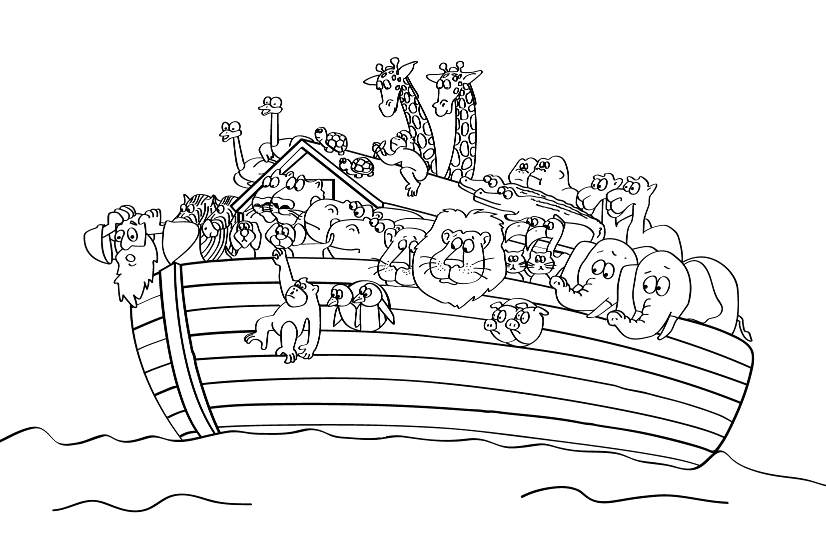 Free printable sunday school coloring pages for Noah ark coloring page