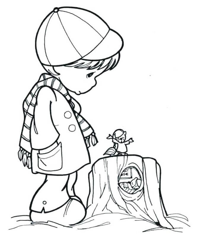 Precious Moments Groundhog Day Coloring Page