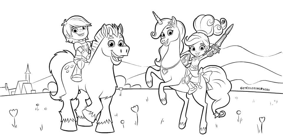 Princess Nella and Sir Garret Coloring Page from Nella the Princess Knight