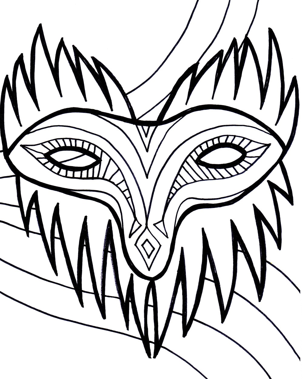 Printable Mardi Gras Mask Coloring Page
