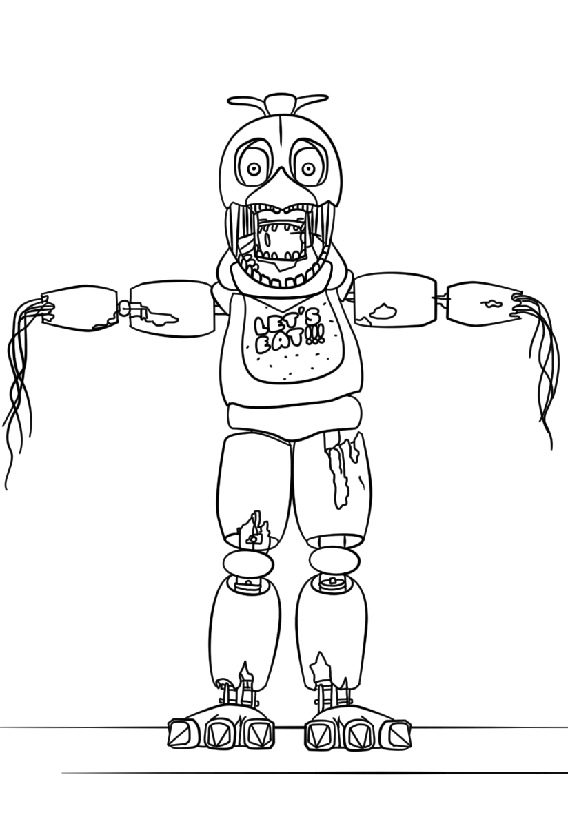 Printable Nightmare Chica FNAF Coloring Page