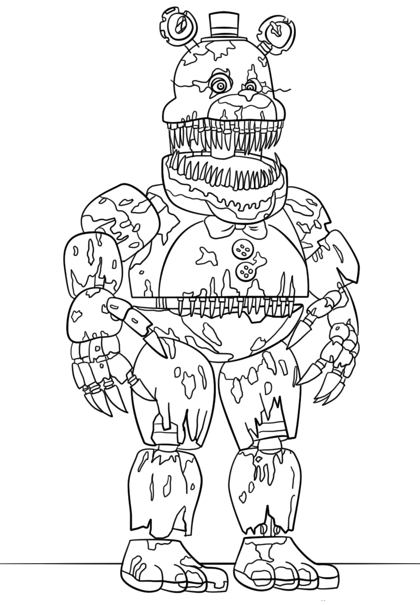 Printable Nightmare Freddy Coloring Page