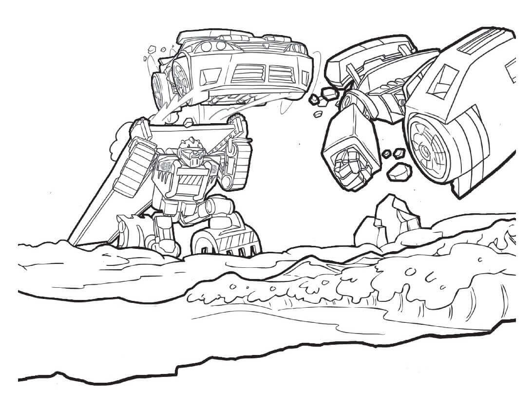 Rescue Bots In Action Coloring Page