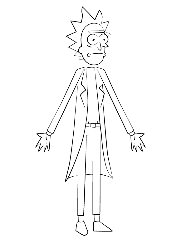 Rick from Rick and Morty Coloring Page