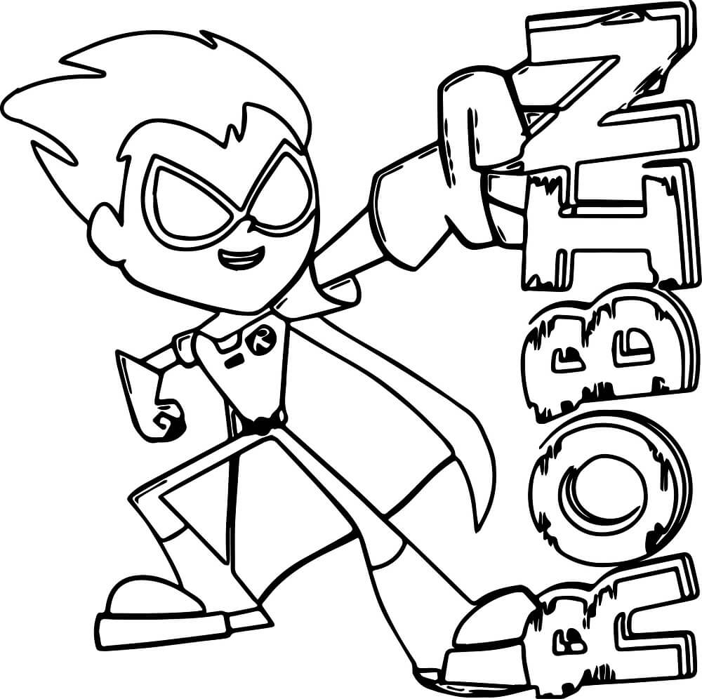 Robin From Teen Titans Coloring Pages
