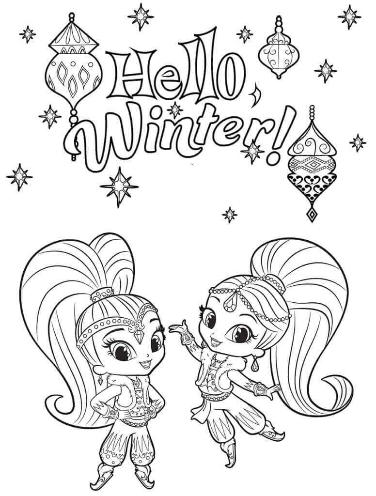 Shimmer and Shine Winter Coloring Sheets