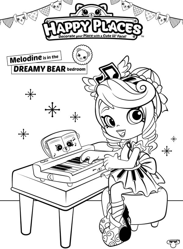 Shopkins Doll Melodine Coloring Page Happy Places
