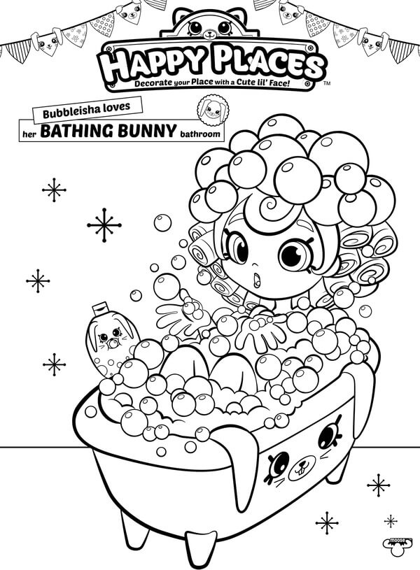 Shopkins Happy Places Coloring Pages Bubbleisha in Bath