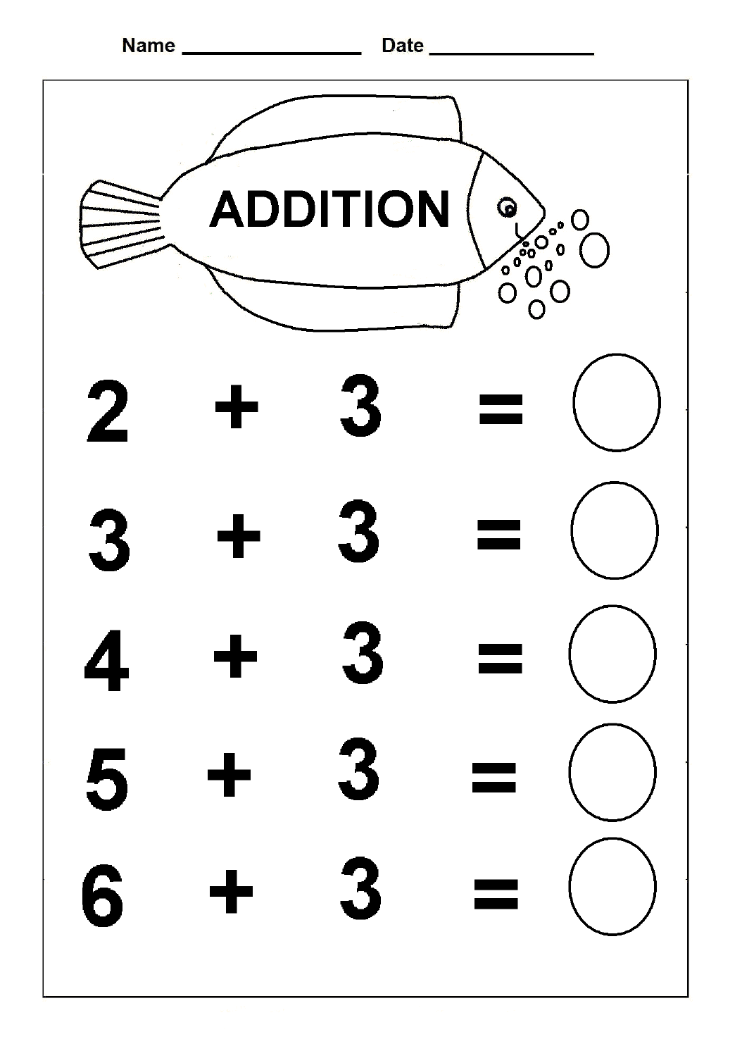 Simple Addition Kindergarten Math Worksheet
