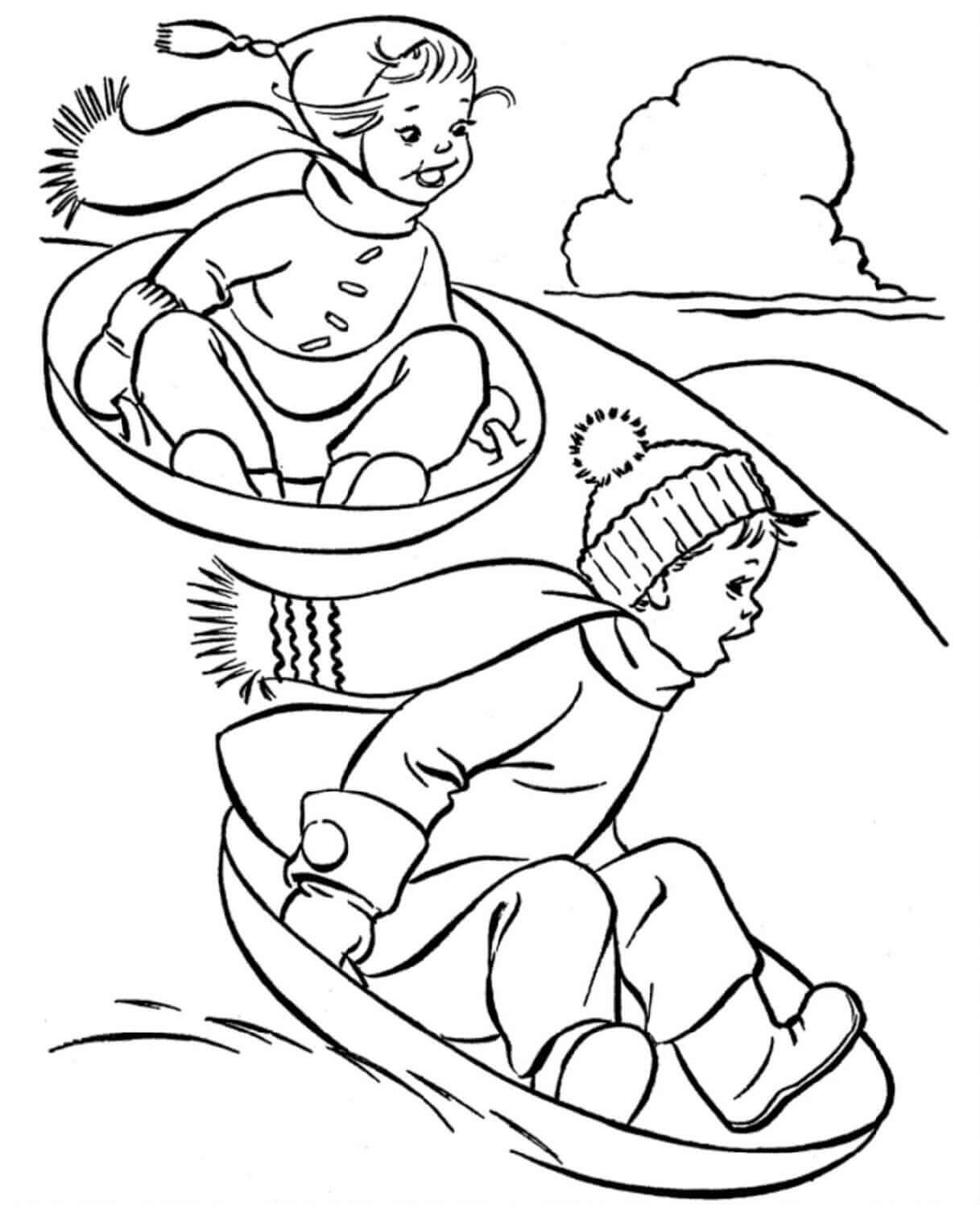 Sledding Winter Coloring Pages