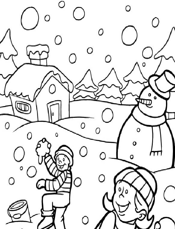 Snow and Winter Coloring Pages