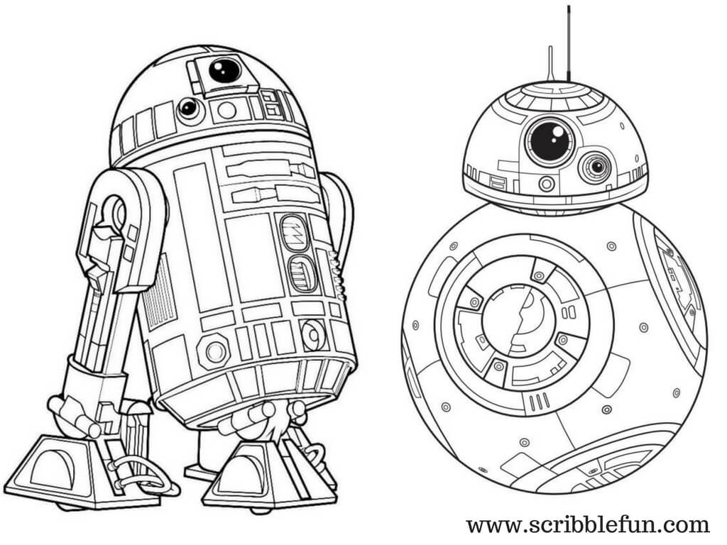 Star Wars R2D2 and BB8 Coloring Page
