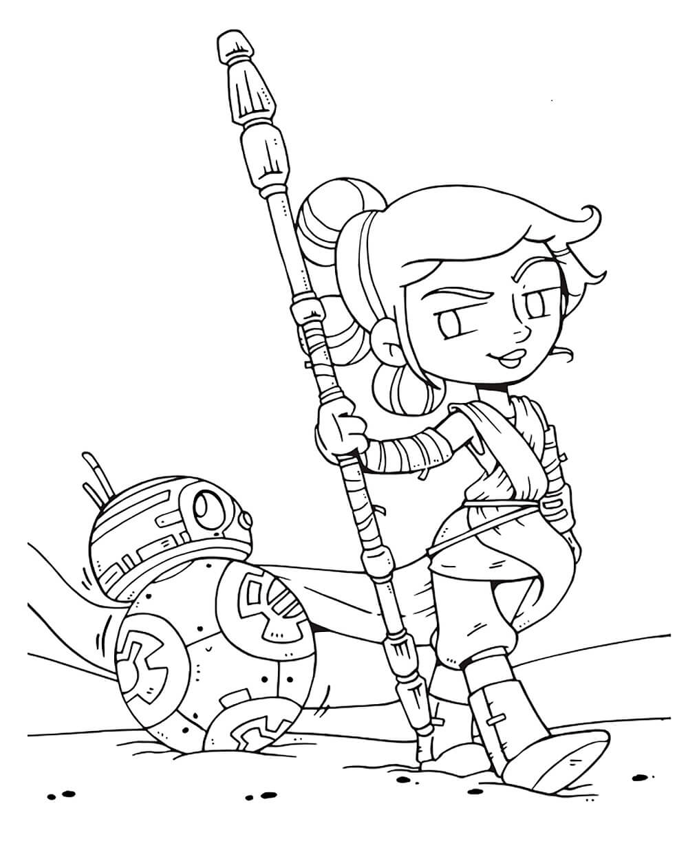 Star Wars The Last Jedi Coloring Page Rey and BB8