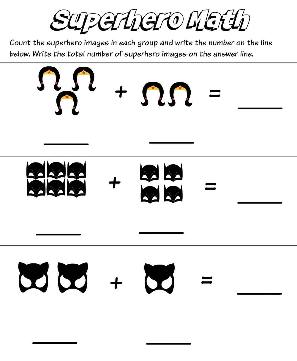 Superhero Kindergarten Math Worksheets