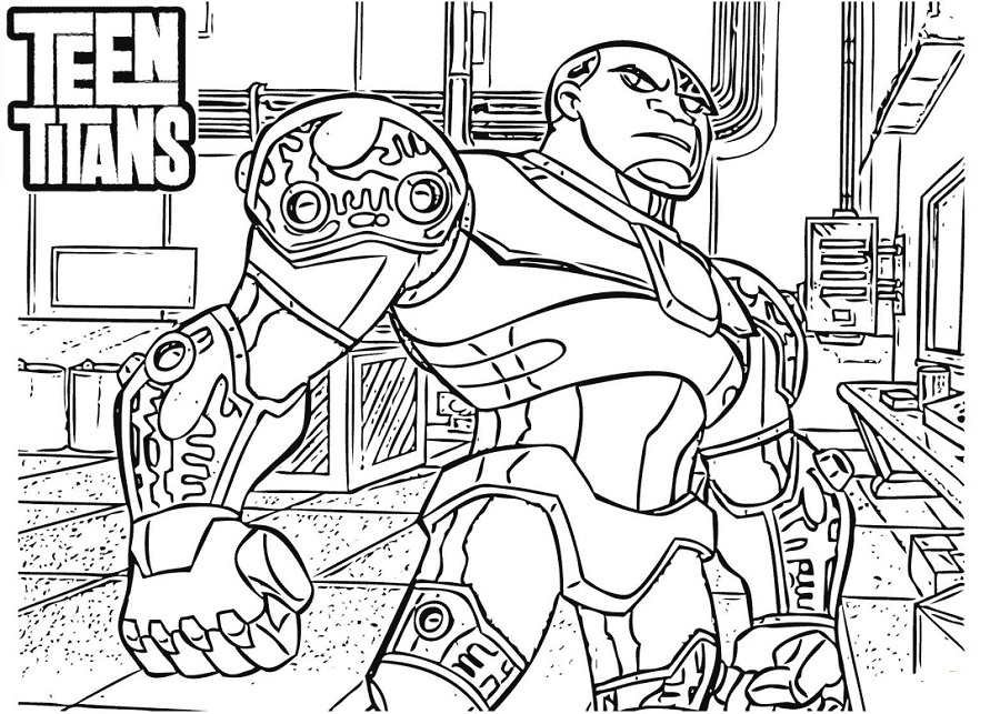 Teen Titans Coloring Page Cyborg
